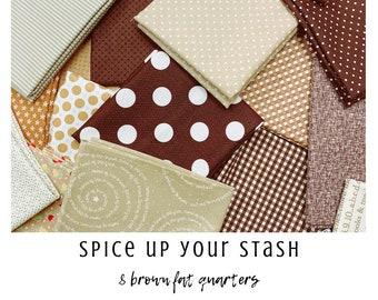Spice Up Your Stash - 8 Brown Fat Quarters - Curated Fat Quarter Bundle by our shop - Color Your Stash