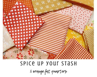 Spice Up Your Stash - 8 Orange Fat Quarters - Curated Fat Quarter Bundle by our shop - Color Your Stash