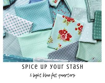 Spice Up Your Stash - 8 Light Blue Fat Quarters - Curated Fat Quarter Bundle by our shop - Color Your Stash