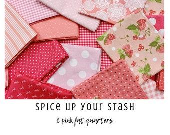 Spice Up Your Stash - 8 Pink Fat Quarters - Curated Fat Quarter Bundle by our shop - Color Your Stash