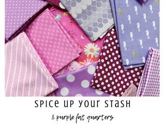 Spice Up Your Stash - 8 Purple Fat Quarters - Curated Fat Quarter Bundle by our shop - Color Your Stash