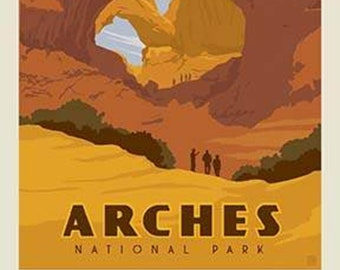 "Arches National Park Poster Panel - 36"" x 43 1/2"" - Riley Blake Designs (P8786-ARCHES) - National Park Fabric"