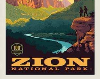 """Zion National Park Poster Panel - 36"""" x 43 1/2"""" - Riley Blake Designs (P8785-ZION) - National Park Fabric"""