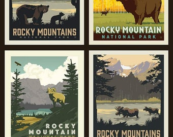"National Parks Rocky Mountains Pillow Panel - 36"" x 43 1/2"" - Riley Blake Designs (PP8935-ROCKY) - National Park Fabric"