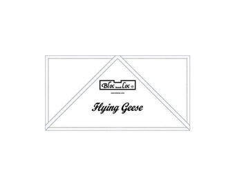 "Bloc Loc - Flying Geese Ruler  2 1/2"" x 5"" - Quilting Tool"