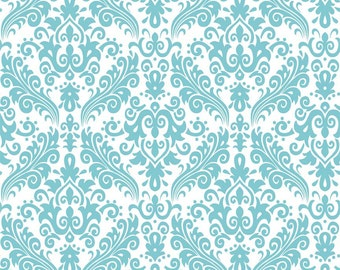 RBD, Medium Damask Aqua on White (C820 20) - cut options available