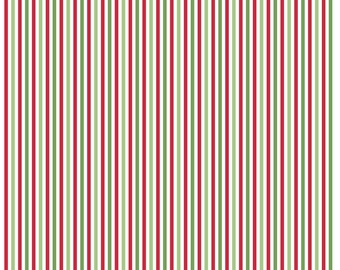 Small Stripe Christmas Fabric - 1/8 Inch Stripe in Christmas by Riley Blake Designs (C495)