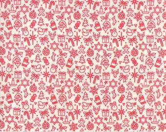 Kringle Claus - Traditions - Snow & Berry - (30597 11) - BasicGrey Kringle Claus for Moda Fabrics -  Cotton Quilting Fabric - Kringle Klaus