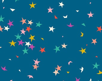 Ruby Star Society Pop Zip -  Starfetti Blue Raspberry  by Rashida Coleman Hale - Novelty Children's Fabric - (RS1004 15)