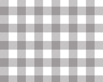 Lumberjack Gray Plaid Designer Knit by Riley Blake Designs -  Jersey KNIT Stretch Fabric  (K9176-GRAY) Cut Options Available