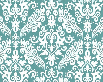 RBD, Medium Damask White on Teal (C830 26)
