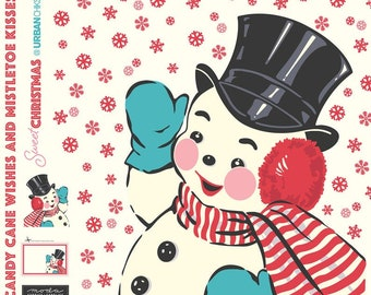 Sweet Snowman Panel by Urban Chiks for Moda  (31150P) - Snowman Digital Panel - Applique Panel