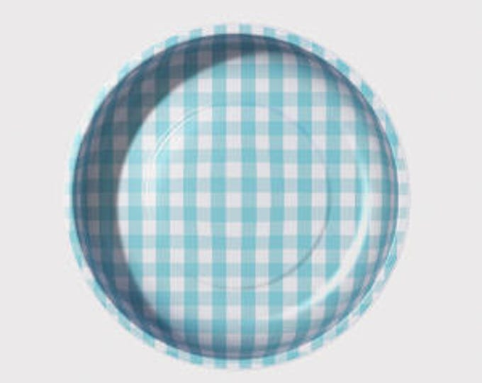 Aqua Gingham Magnetic Pin Bowls by Pleasant Home