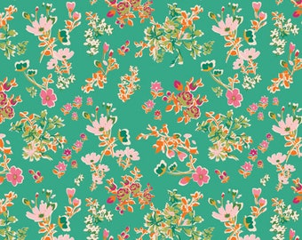 Knit Floral Fabric - Art Gallery Knit Cottagely Posy by Katy Jones - AGF Limited Edition (K-215) - Stretch Jersey Knit Fabric - Floral Knit