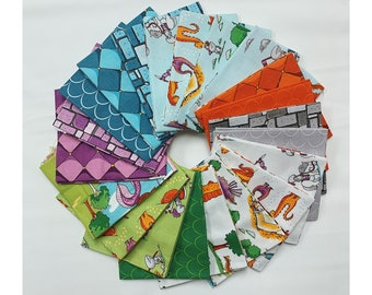 Dragons Fat Quarter Bundle by Ben Byrd - FQ Bundle - SALE! (22 pcs) from Dragons for Riley Blake Designs - Quilting Cotton Fabric