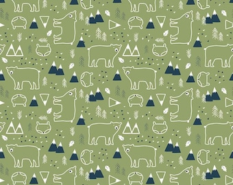 In The Forest Green Bear and Fox Yardage by Riley Blake Designs (C8952-GREEN) - Cut Options Available