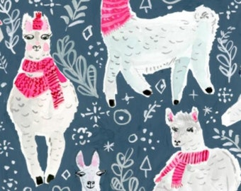 Dear Stella Moonlight Winter Llamas Yardage from Best In Snow by August Wren(STELLA-DAW1205) - Cut Options Available