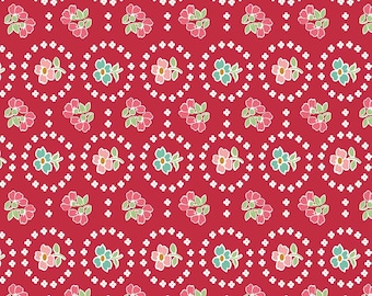Granny Chic Red Curtains by Lori Holt (Bee in My Bonnet) (C8518 RED) - Riley Blake Designs - Lori Holt Granny Chic