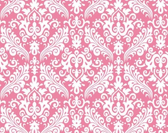 Hot Pink Medium Damask (C830 70) Riley Blake Designs - Pink Print Fabric  - SALE