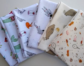 Low Volume Fabrics  Fat Quarter Bundle - (6) character prints - Fun Low Volume Fabric Bundle: mermaids, astronauts, red riding hood, animals