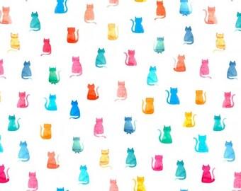 Dear Stella Hello Kitties in White Yardage (STELLA-1269) - Cat Fabric - Cut Options Available