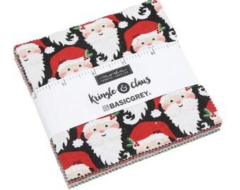 Kringle Claus Charm Pack - (30590PP) BasicGrey Kringle Claus for Moda Fabrics -  Cotton Quilting Fabric - Kringle Klaus