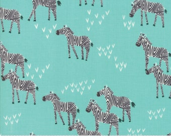 Safari Life Aqua Grazing Zebra by Stacy Iest Hsu for Moda Fabrics  (20645 20) - Animal Fabric - Cut Options Available