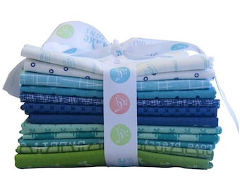 Lori Holt Cool Colors Fat Quarter Bundle - (12 pcs) by Lori Holt of Bee in My Bonnet (FQ-LHCOOL-12)