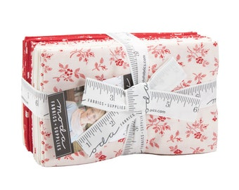 My Redwork Garden Fat Eighth Bundle by Bunny Hill Designs - (2950F8) -  (22 F8's) - Red and White Fabric