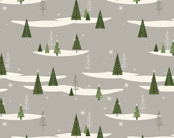 Winterberry - Gray Trees - My Mind's Eye - Riley Blake Designs - Christmas Fabric - Cut Options Available (C8441 GRAY)
