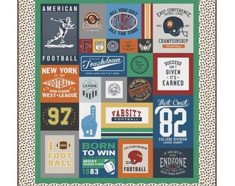 Varsity Football Quilt Kit SUPER SALE - Pattern by RBD Designers featuring Varsity Football by Deena Rutter - Football Quilt - Sports Quilt
