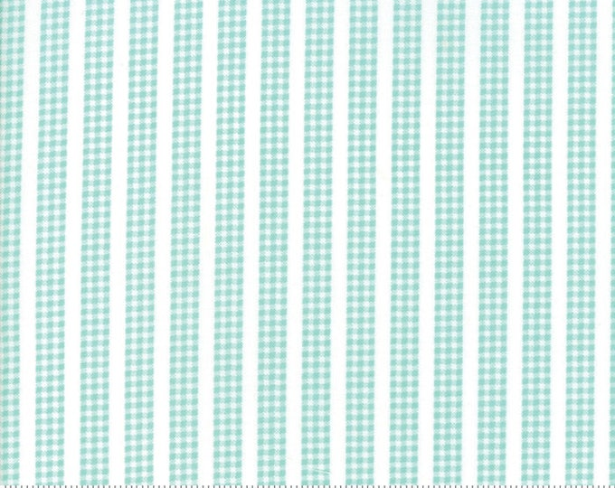 Flower Mill (29036 29) Aqua Gingham Stripe by Corey Yoder