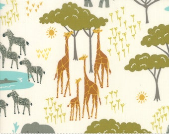 Safari Life Cream In the Native by Stacy Iest Hsu for Moda Fabrics  (20643 11) - Animal Fabric - Cut Options Available