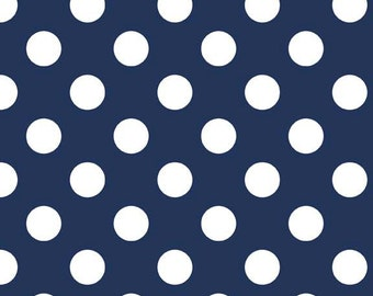 Riley Blake Designs, Medium Dots in Navy (C360 21)