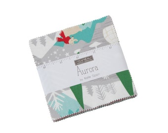 "Aurora Charm Pack by Kate Spain - 5"" x 5"" squares - 42 pieces - Kate Spain Aurora for Moda Fabrics (27300PP)"