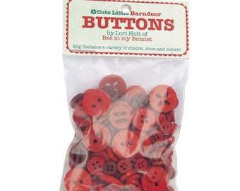 Lori Holt Cute Little Buttons Barndoor Assortment -  Contains 30g of Red Buttons
