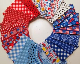 Patriotic Picnic Fat Quarter Bundle by Doodlebug Design (FQ-8000-24) - Red White and Blue Fabric - Patriotic FQ Bundle