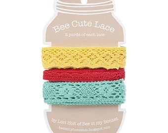 Lori Holt Bee Cute Lace -  Vintage Lace Trim  - Assortment #2 - 2 yards of 3 sizes of lace (STVL 3634)