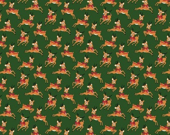 Merry and Bright Deer Green - Dani Mogstad for Echo Park Paper Co. - Quilting Cotton - Riley Blake Designs (C8394-GREEN) - Cut Options