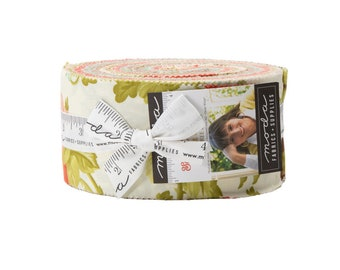 Fig Tree Scarlet and Sage Jelly Roll by Fig Tree (20360JR) for Moda - Quilting Cotton Fabric