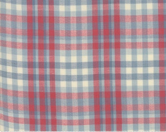 Northport Silky Wovens Blue Red Plaid by Minick & Simpson for Moda Fabrics  (12215 11) - Patriotic Fabric - Plaid Fabric