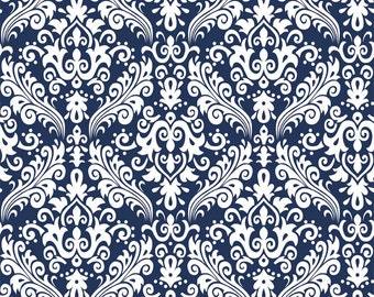 RBD, Medium Damask White on Navy (C830 21)