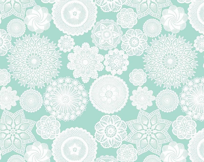 Vintage Keepsakes Doily Aqua (C7862-AQUA) by Beverly McCullough of Flamingo Toes for Riley Blake Designs.
