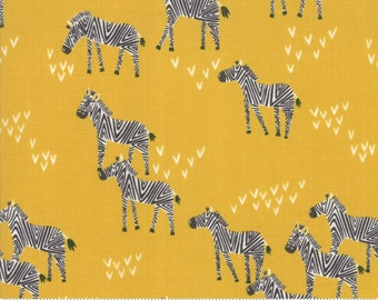 Safari Life Dijon Grazing Zebra by Stacy Iest Hsu for Moda Fabrics  (20645 18) - Animal Fabric - Cut Options Available