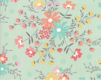 Sunnyside Up Floral Sugar Creek Gossamer(Aqua) by Corey Yoder (Little Miss Shabby) for Moda (29051 20)