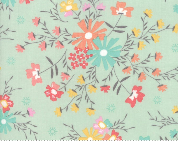 Sunnyside Up Floral Sugar Creek Gossamer(Aqua) by Corey Yoder (Little Miss Shabby) for Moda (29051 20)