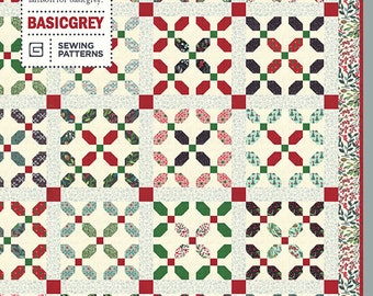 "Hoho Holly Quilt Pattern by Basic Grey for Moda Fabrics - Finished size: 61"" x 74"" - Christmas Quilt Pattern - Jelly Roll Quilt"