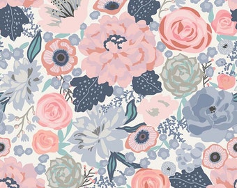 Edie Jane - Main - Cream (C8180 CREAM) by Deena Rutter for Riley Blake Designs - Girl Fabric  - Floral Fabric - Cotton Quilting Fabric