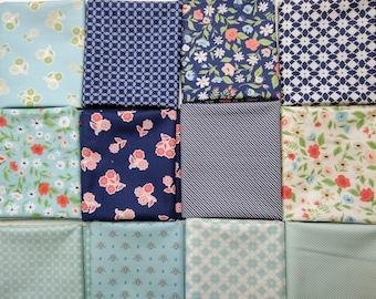 Garden Variety Half Yard bundle by Lella Boutique for Moda Fabrics  - Blue Fabrics from Garden Variety