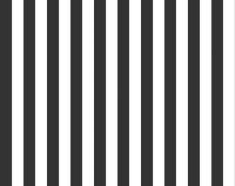 Riley Blake Designs, Half Inch Stripe in Black (C530-110)